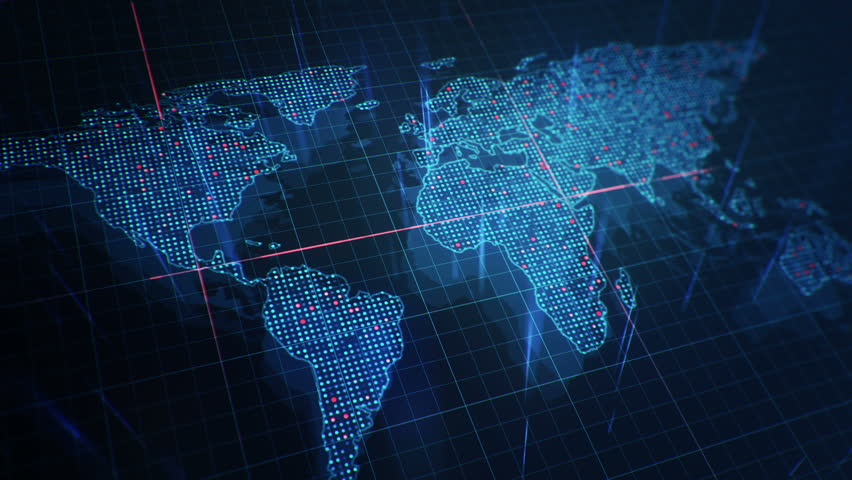 Abstract animation of World map in digital screen with colorful dots and lines. Animation of seamless loop. | Shutterstock HD Video #22912030