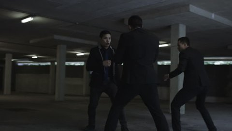 4K Asian gangster fighting in parking lot with members of a rival gang Dec 2016-UK