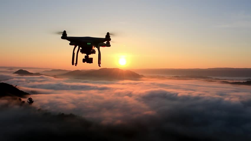 Drone flying over cloud in morning, in a aerial shot,  | Shutterstock HD Video #22929223