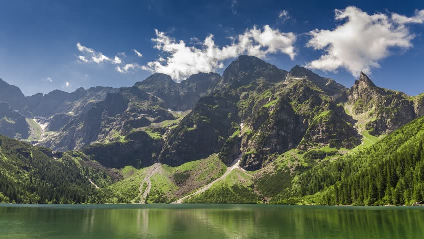 Famous Polish lake in the Tatras Mountains in summer, Poland, 4k, timelapse