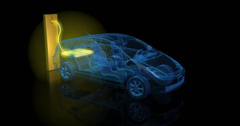 3d animation of blue electric car charging from large glowing battery.