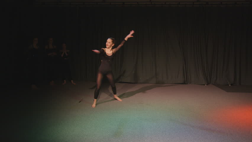 4K Young student in dance rehearsal for school theatre production Dec 2016-UK | Shutterstock HD Video #22983388