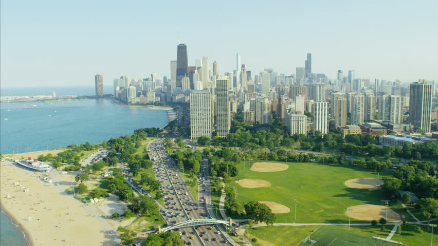 Aerial Chicago Day View Of Stock Footage Video (100