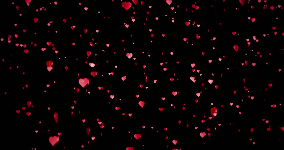 valentine day red hearts shape rise like frizz champagne bubbles movement on black background with alpha channel matte, holiday festive valentine day love concept