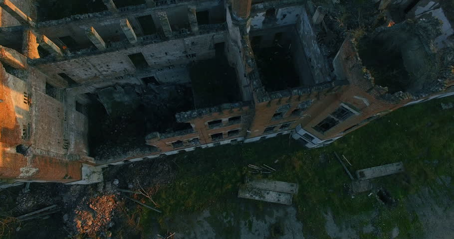 Aerial View Of Chechnya Grozny, House destroyed by war