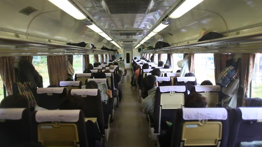 Tokyo, JAPAN - CIRCA NOVEMBER 2013- Shot of Japanese wagon traveling in train | Shutterstock HD Video #23011048