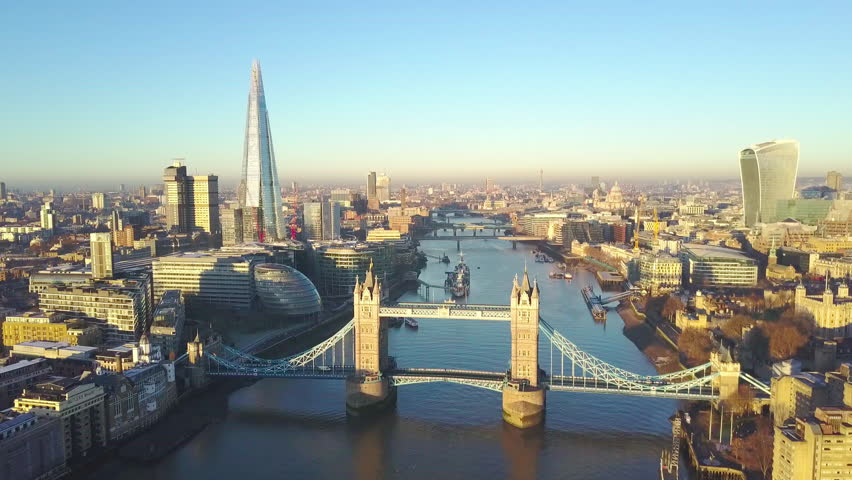 Aerial cityscape view of London and the River Thames, England, United Kingdom - Reveal shot | Shutterstock HD Video #23015248