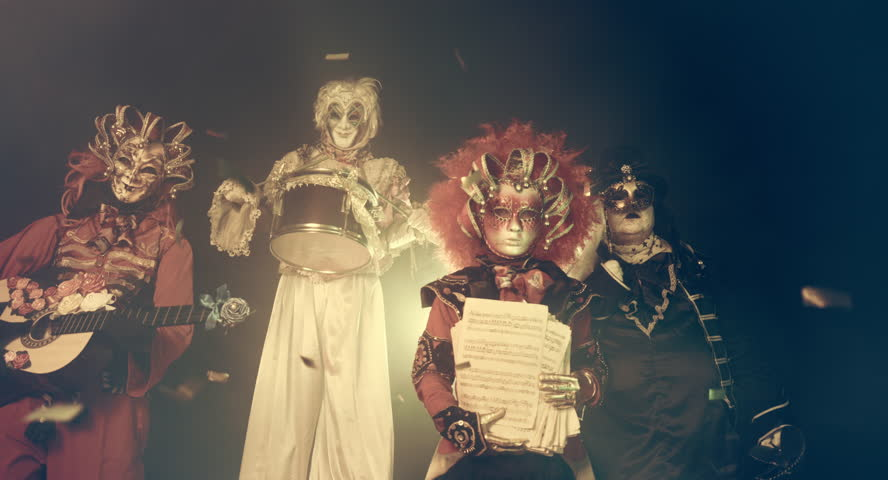 Venetian horror musicians. Venice masquerade.