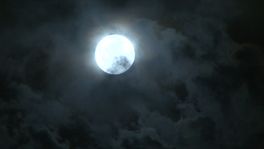 Bright full moon on partly cloudy night. 1920 x1020 Full HD. | Shutterstock HD Video #2303816