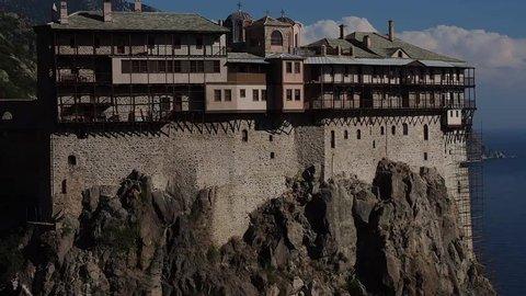 Greece, Mount Athos, Holy Monastery Simonopetra, zoom out
