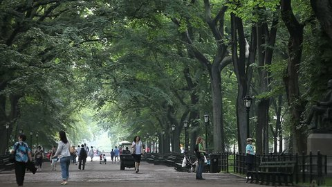 New York - Circa 2009: Central Park in 2009. People walking in Central Park, New York City, New York.