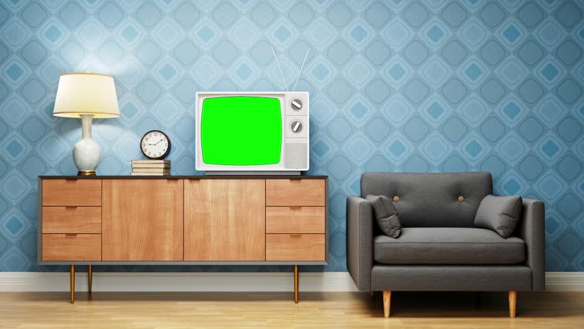 Vintage Television In Retro Living Room
