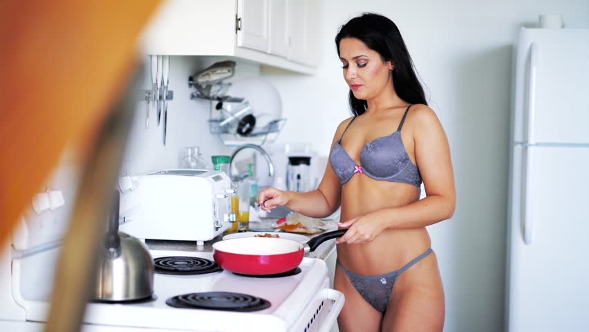 Sexy cooking in lingerie
