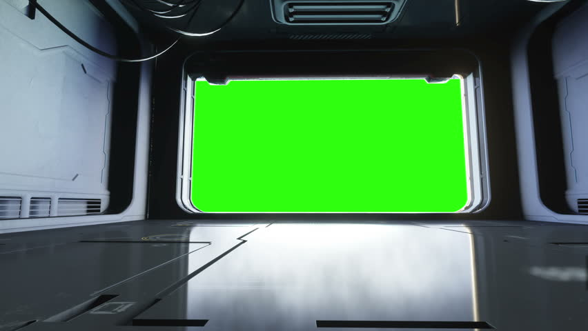 Futuristic Door Open On Green Screen With Alpha Channel
