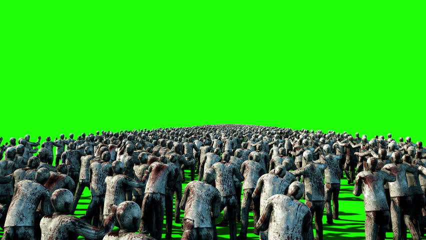 A large crowd of zombies. Apocalypse, halloween concept. 4K green screen animation.   Shutterstock HD Video #23092168