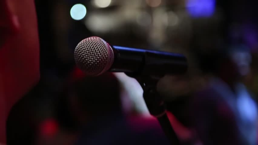 Microphone On Stage At A Concert Venue Stock Footage Video