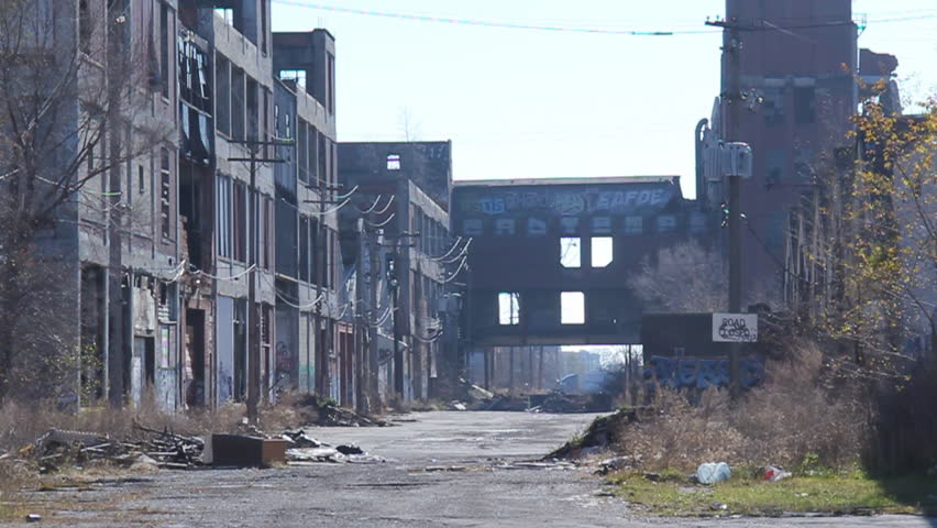 DETROIT, MICHIGAN - NOV 21: Abandoned Packard factory ruins on a hazy afternoon