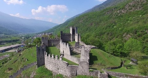 Valtellina - Castles of Grosio (Aerial view)