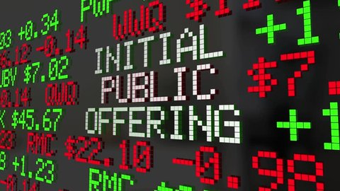 Initial Public Offering IPO Stock Market Ticker 3d Animation