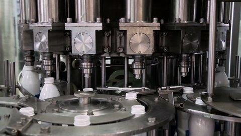 Part Automatic Line for Bottling Milk . Filling the Bottles with Milk