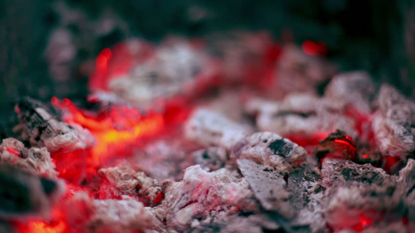 Flicker of smoldering coals lay in cinder, closeup view