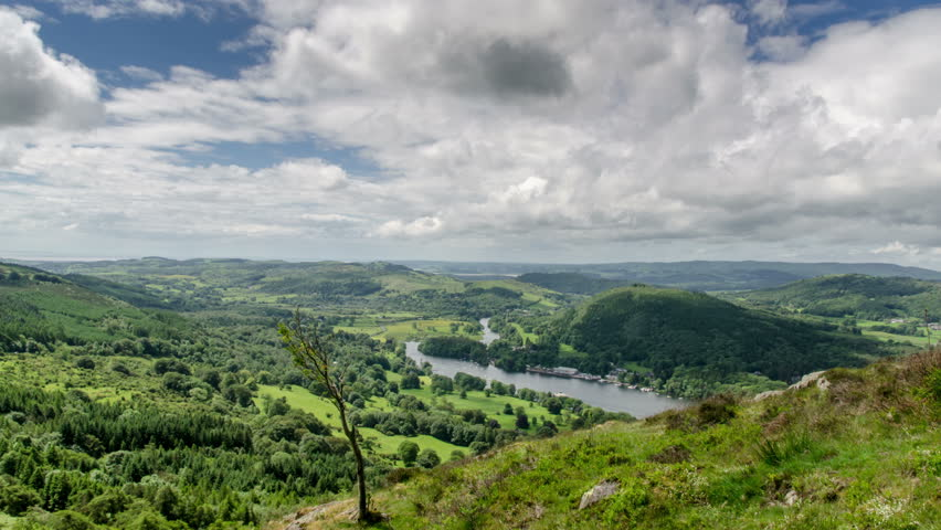 A 4k time lapse taken from high up on a mountainside overlooking lake Windermere, at a place called Gummer's How in the Lakes District, England.