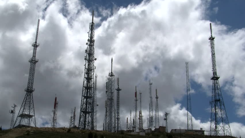 phone and television transmitter antennas