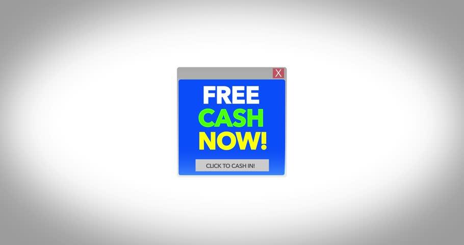 Generic Free Money online popup virus scam on screen   ALT Angle
