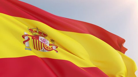Photorealistic animation of the waving Flag of Spain (Bandera de Espana or la Rojigualda). Seamless Loop. 4K, Ultra HD resolution. Another flags available - check my profile.