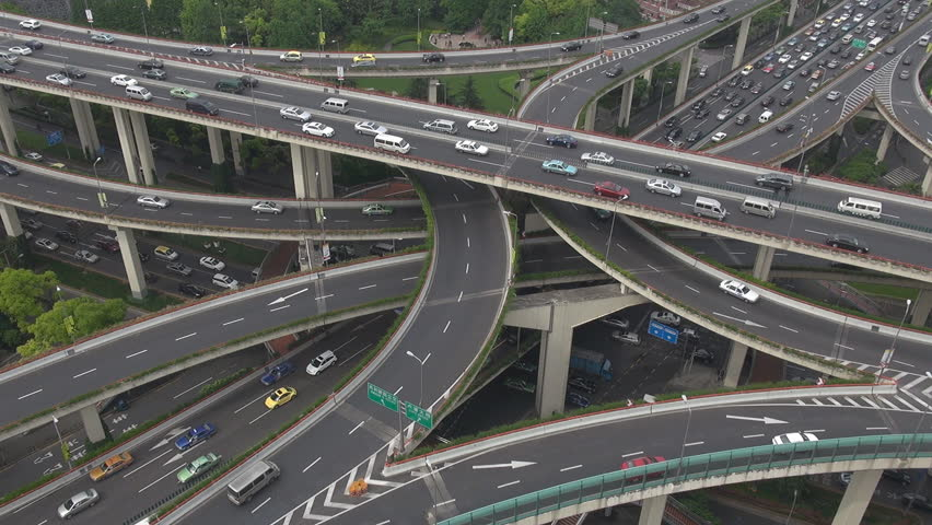 Heavy traffic on Shanghai Highway Interchange, China, Asia  | Shutterstock HD Video #2328302