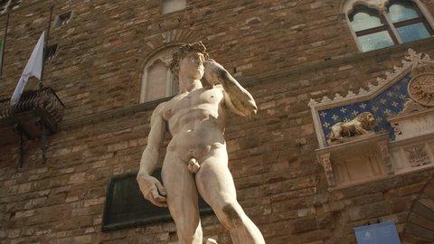 Replicas of Michelangelo's David in Piazza della Signoria in Florence, Italy.
