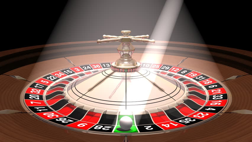 Roulette wheel with the ball under reflectors, seamlessly loopable