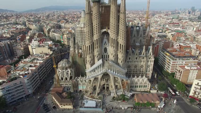 Basilica and Expiatory Church of the Holy Family, Barcelona - Spain This is an aerial video of Basilica and Expiatory Church of the Holy Family shot by drone in Barcelona, Spain. #23344348