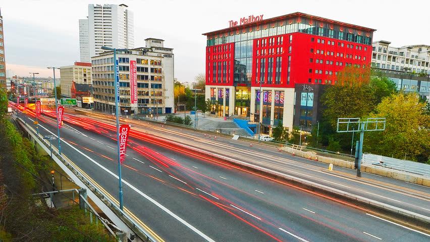 BIRMINGHAM, UNITED KINGDOM - CIRCA 2000: Timelapse of Birmingham's premiere shopping and office center circa 2000.