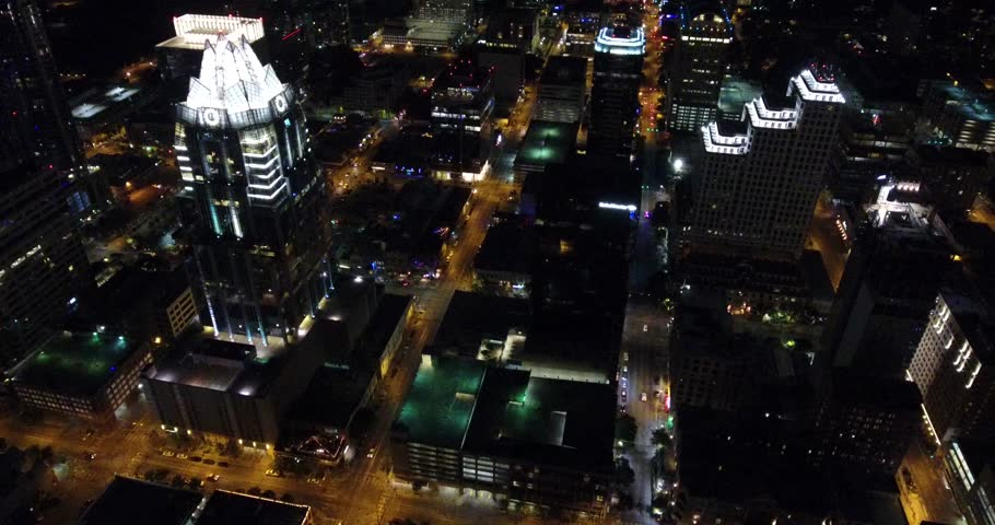 Austin Downtown, Night, Aerial