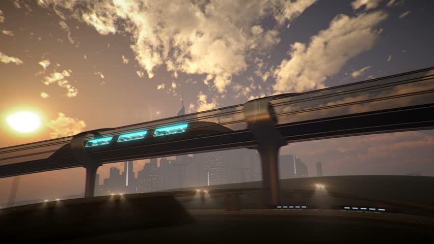 Monorail futuristic train in tunnel. 3d illustration   Shutterstock HD Video #23373040