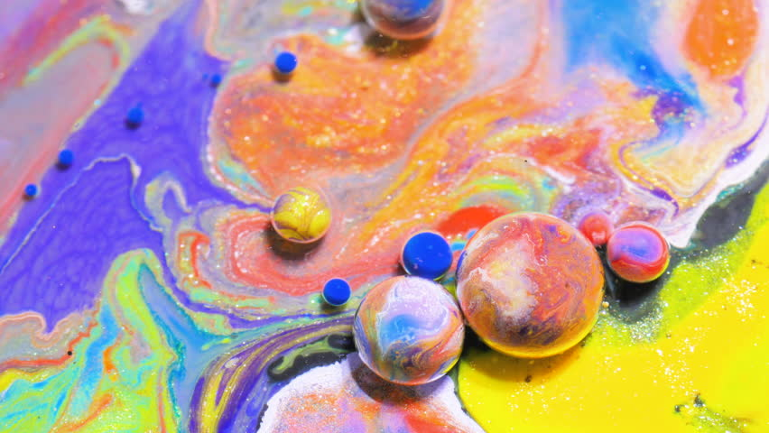 Abstract Background. Oil, Water, Dye. Bubbling Liquid ...