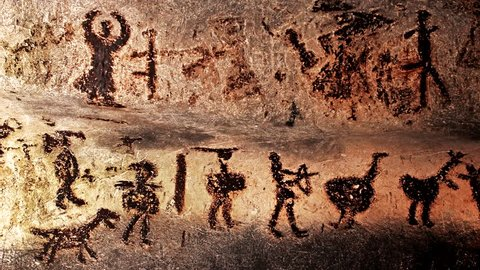 MAGURA, BULGARIA - AUGUST 20, 2016: Well preserved prehistoric mural drawings in Magura cave