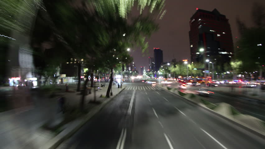 MEXICO CITY - CIRCA DECEMBER 2011: time-lapse shot from the mexico city tourist bus at night