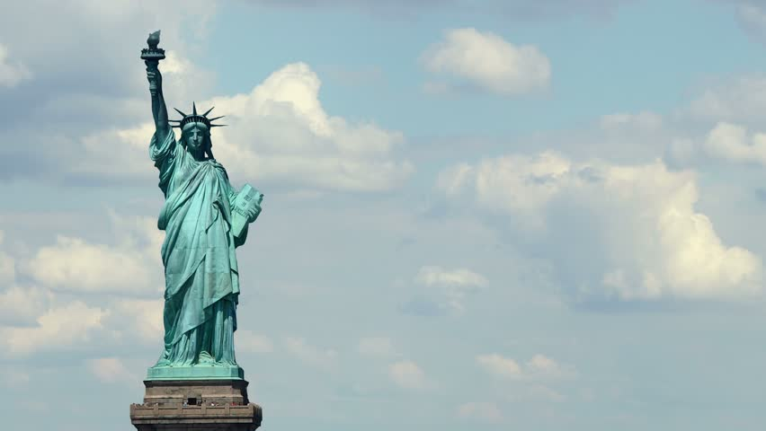 The Statue of Liberty, Clouds Time Lapse. 4K | Shutterstock HD Video #23503078
