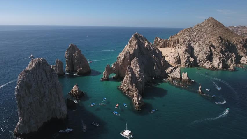 Aerial shot of El Arco arch. Cliffs and rocks - Cabo San Lucas, Mexico