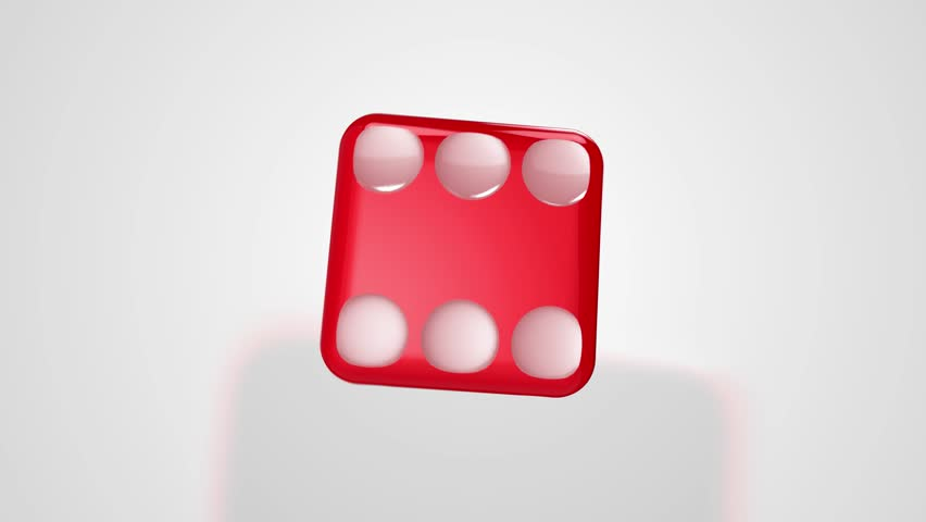 Rolling Red Dice Ends at Six 3D Animation with Alpha