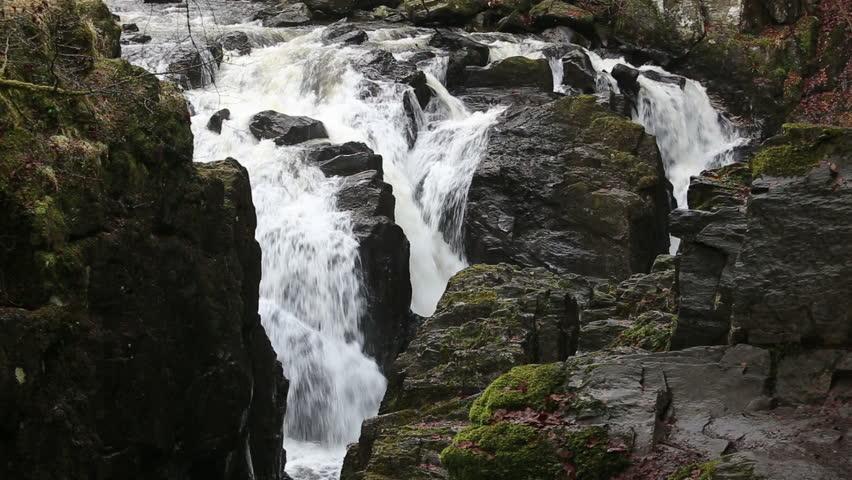 Waterfall on River Braan The Hermitage near Dunkeld Scotland  | Shutterstock HD Video #23544598