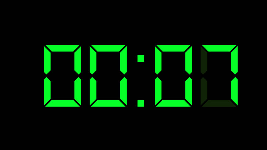 animated digital clock. lcd digital clock countdown 10 0 graphic animation on background with camera movement green animated d