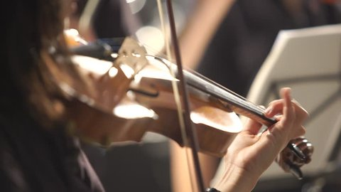 UHD 4K : Close up of musician playing violin,classic music
