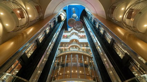 Time laps of elevators inside a cruise ship - October 2016. Adventure of the seas, Royal Caribbean