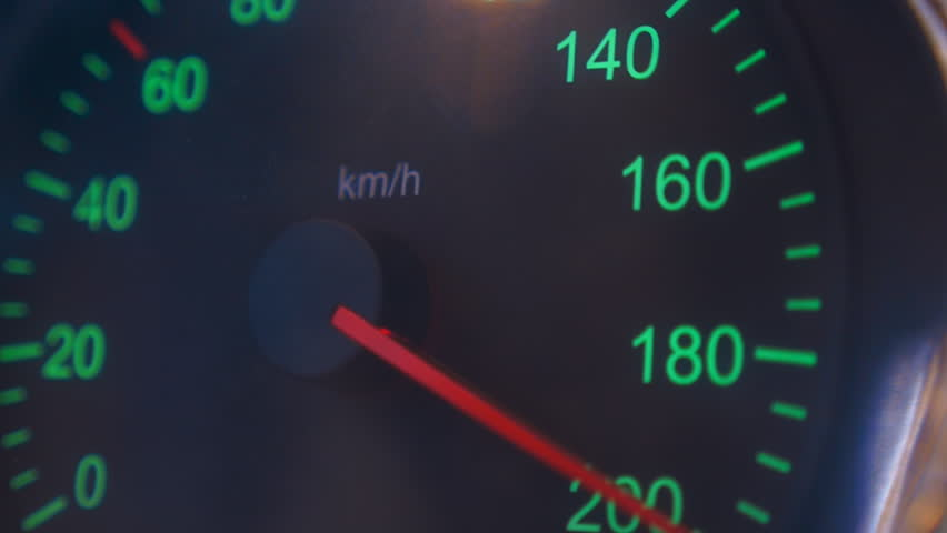 Car speedometer needle is rapidly approaching to the maximum value 200 km/h. Vehicle vibration adds adrenaline and increases the feeling of a strong acceleration | Shutterstock HD Video #23581168