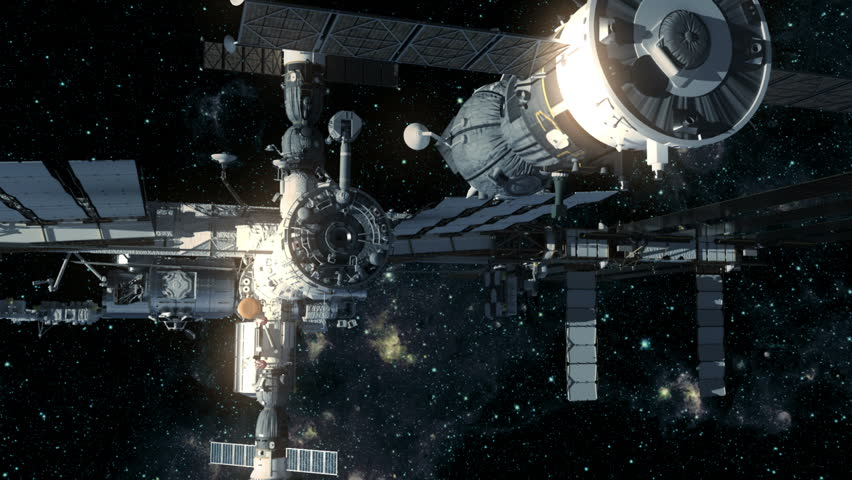 Spacecraft Docking To International Space Station. 3D Animation.