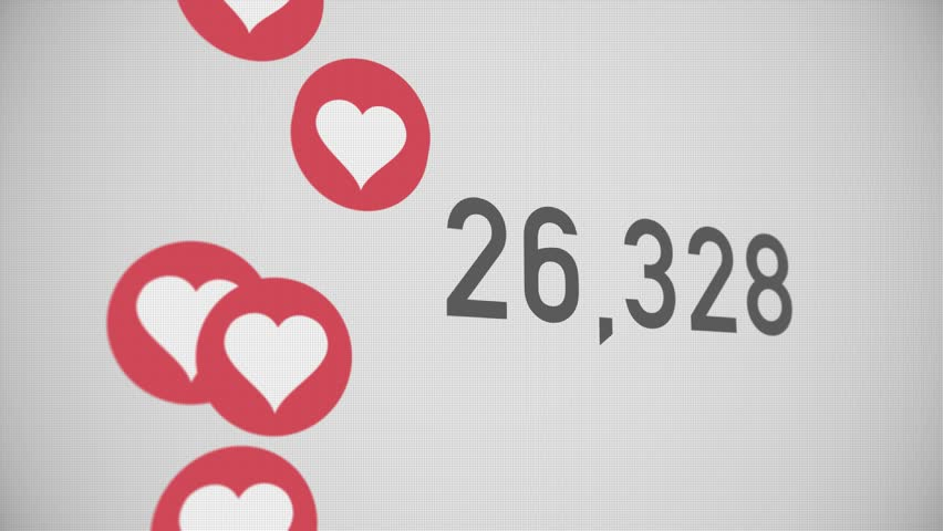 A close up shot of 100,000 likes being counted with thumping hearts on a social network page. Perspective version.	 	 | Shutterstock HD Video #23634718