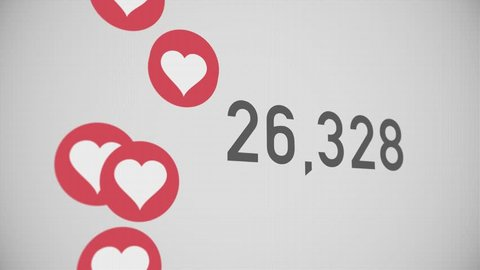 A close up shot of 100,000 likes being counted with thumping hearts on a social network page. Perspective version.